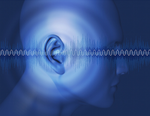Picture of ear with sound waves