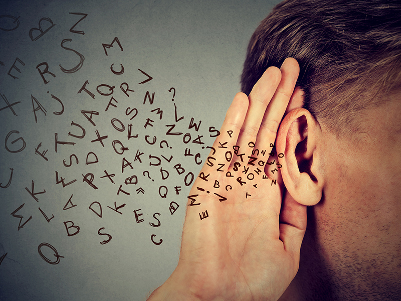 Picture of ear and letters flying out | How Common Is Hearing Loss