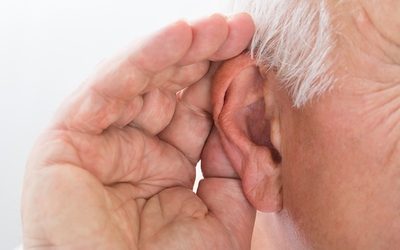 Picture of hand behind ear