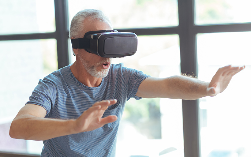Man using a virtual reality set