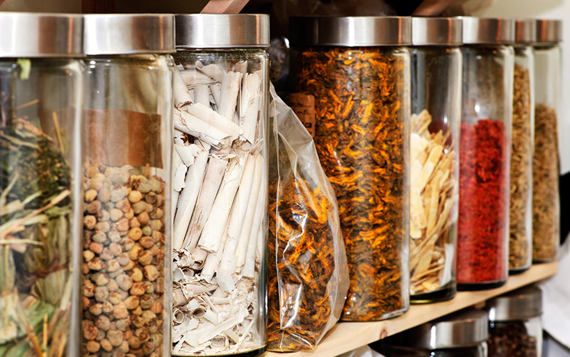 Jars of herbs and spices.