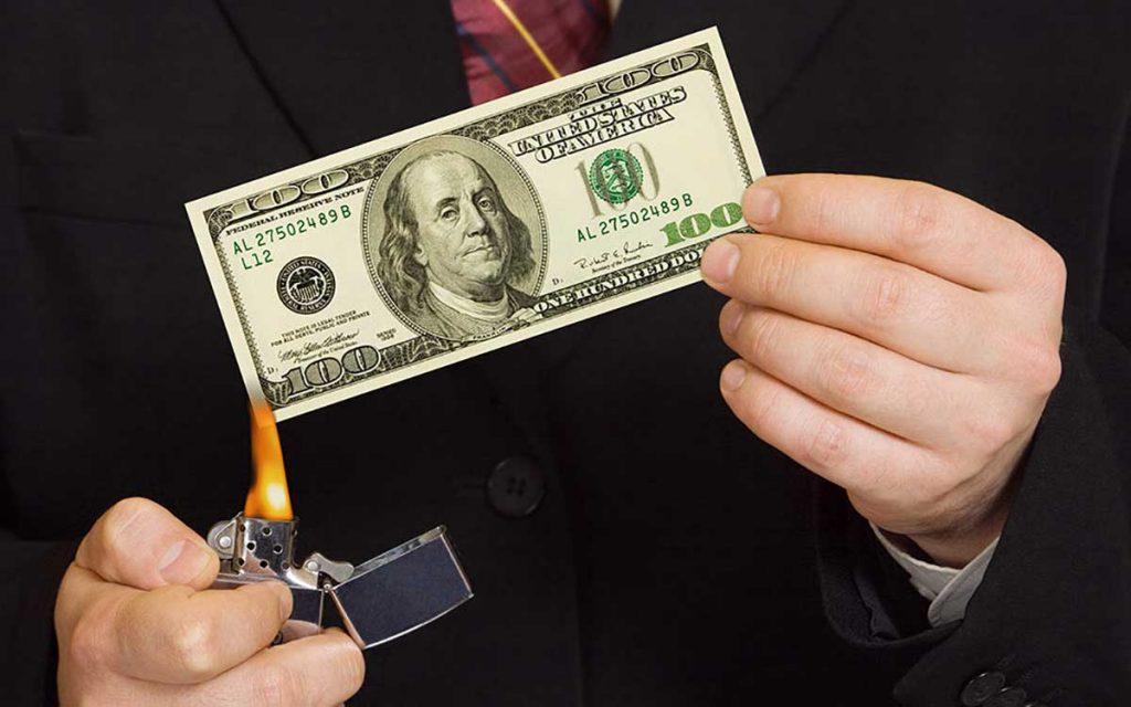 Money being burned.