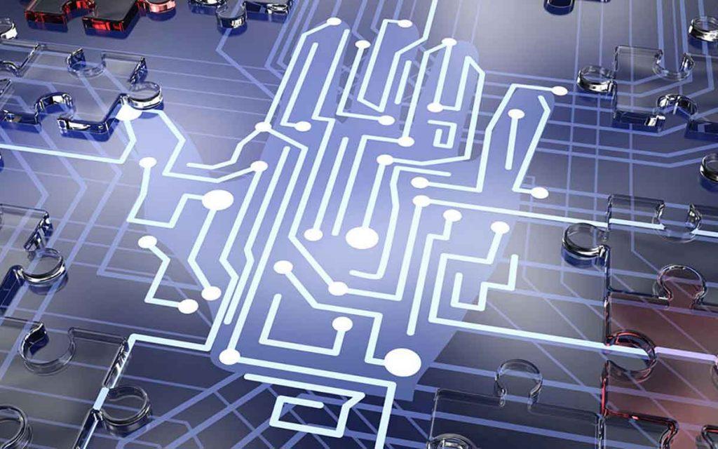 Digital image representing sensors, robotics and technology.