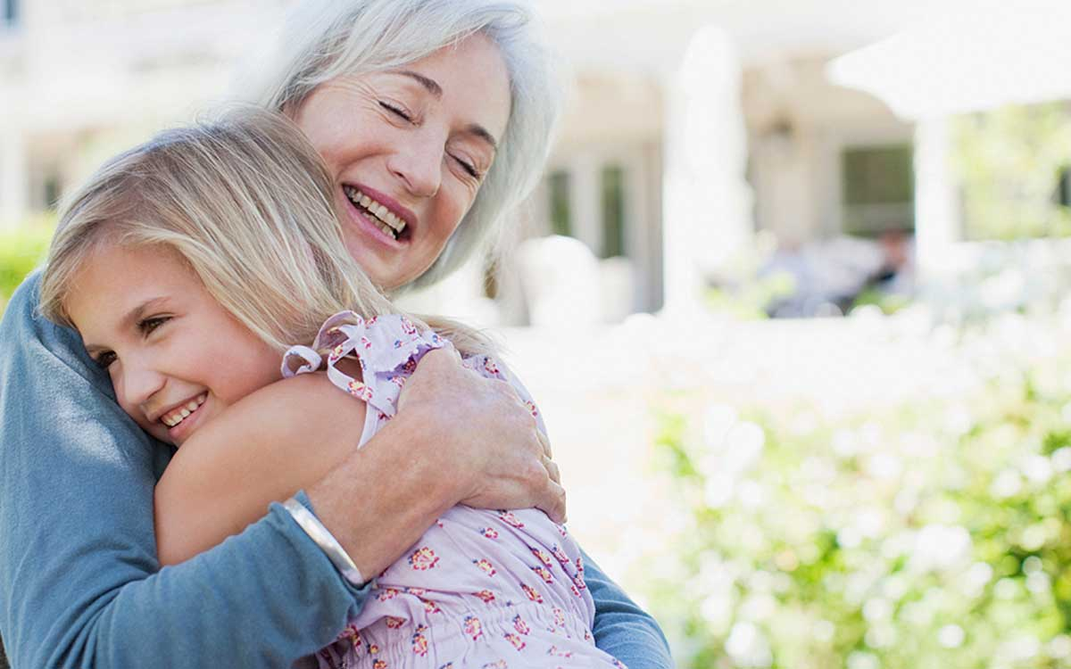 Grandmother and granddaughter. Hearing loss facts for loved ones.