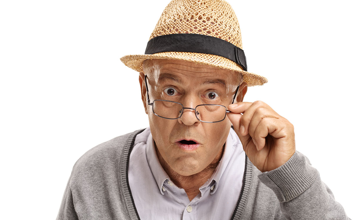 Shocked man because he's learned hearing loss facts.