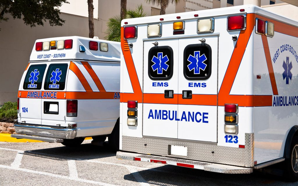 Two ambulances taking people to emergency room becaused hearing loss caused an accident.