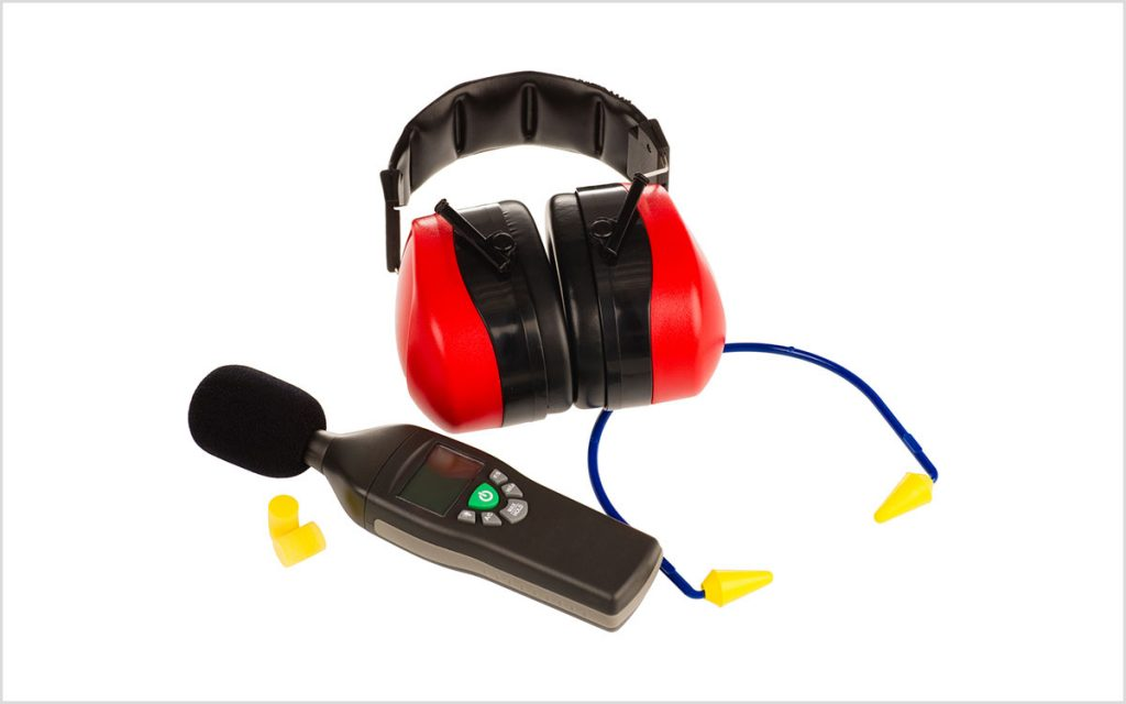 Earmuffs and earplugs for hearing protection.