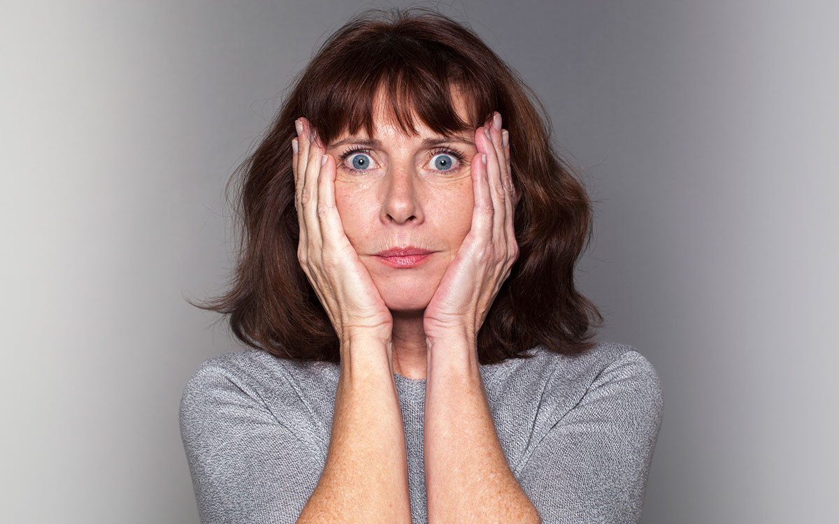 Anxious woman suffering from anxiety.